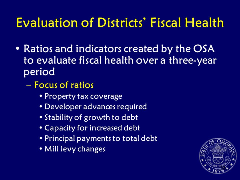 Evaluation of Districts' Fiscal Health