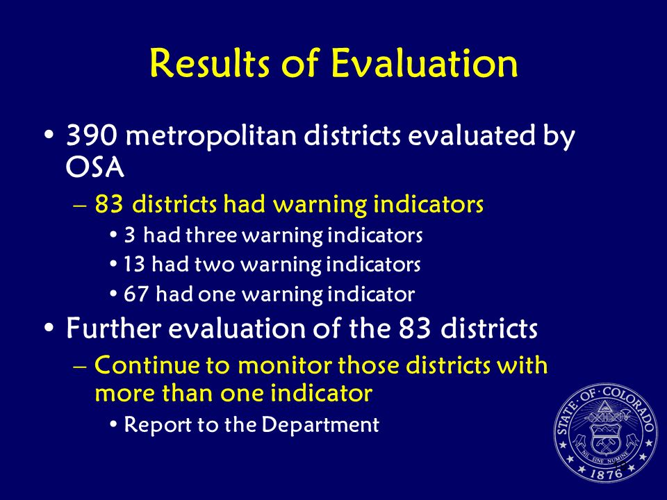 Results of Evaluation 390 metropolitan districts evaluated by OSA