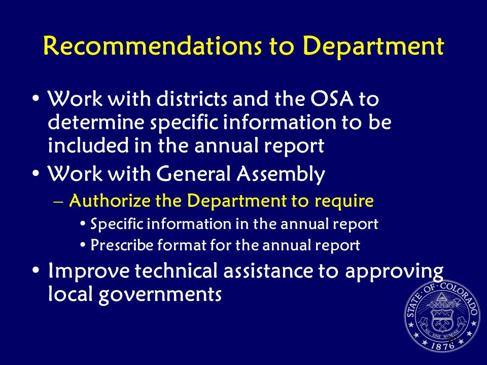 Recommendations to Department