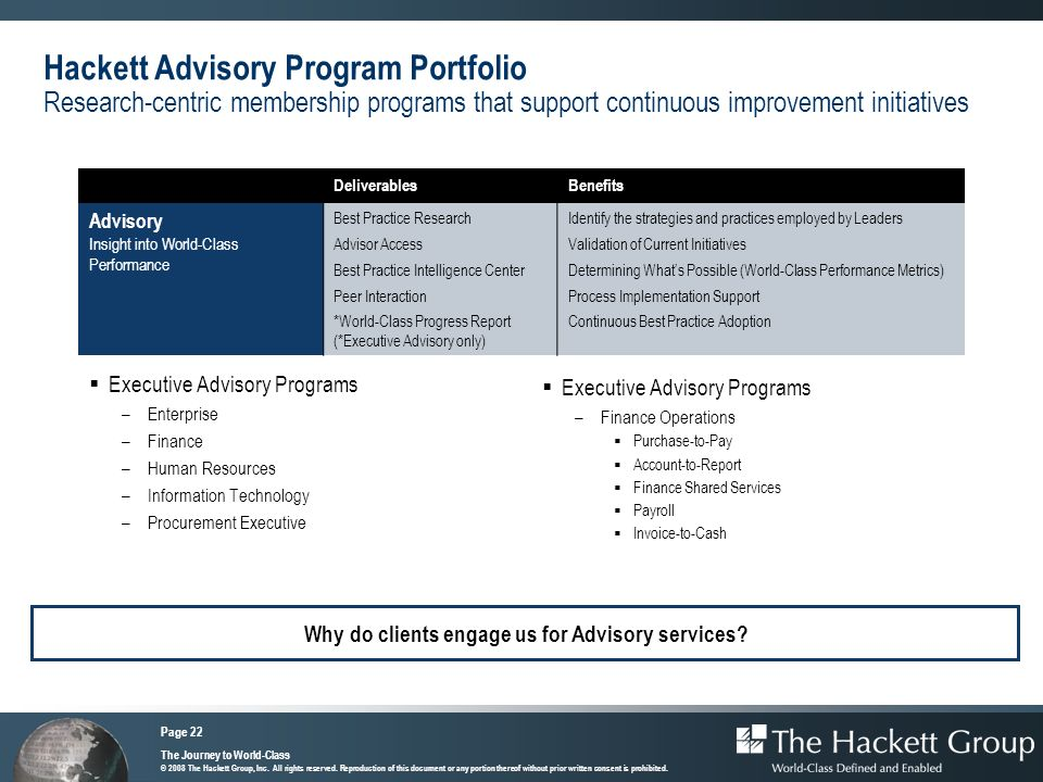 Hackett Advisory Program Portfolio Research-centric membership programs that support continuous improvement initiatives