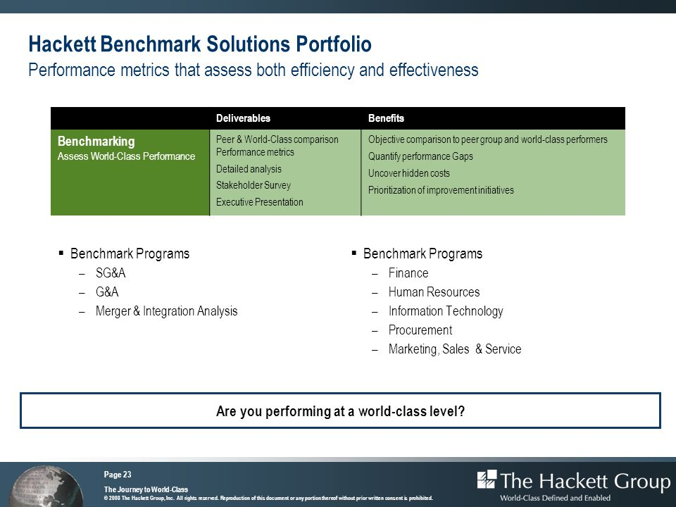 Hackett Benchmark Solutions Portfolio Performance metrics that assess both efficiency and effectiveness