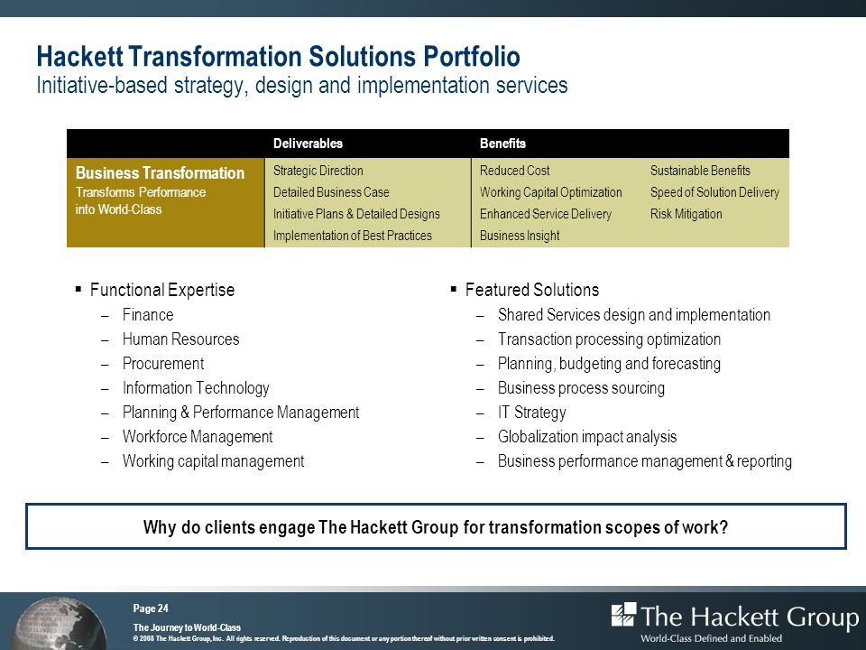 Hackett Transformation Solutions Portfolio Initiative-based strategy, design and implementation services