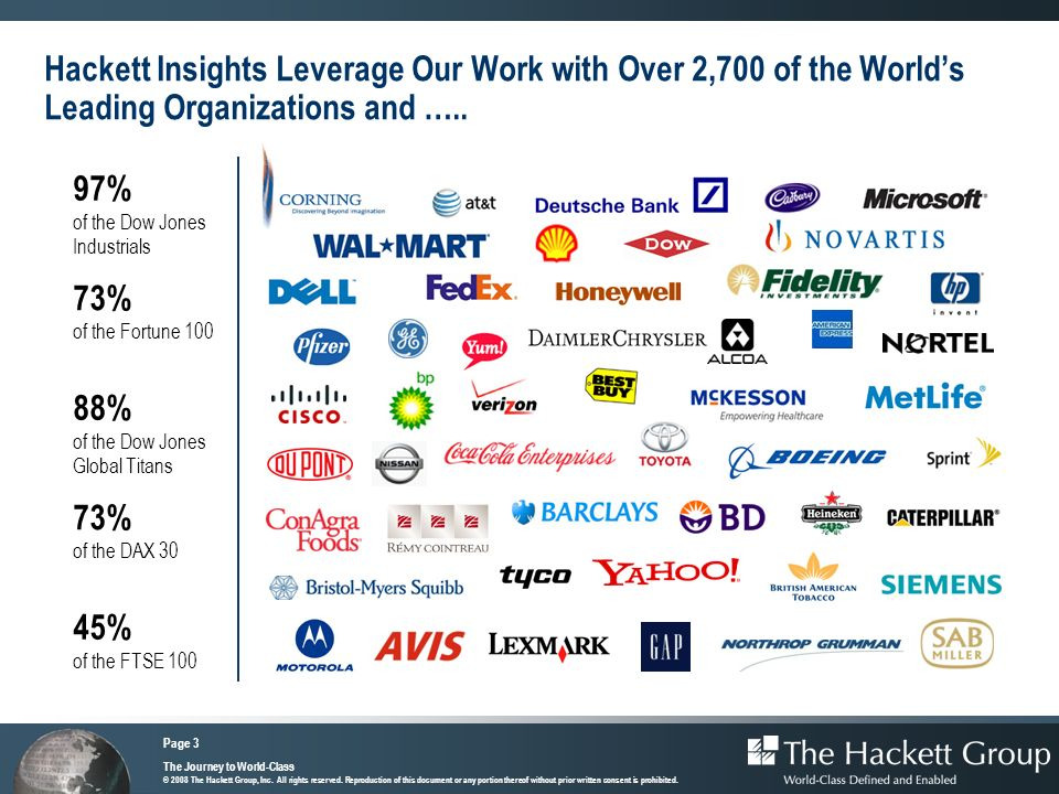 Hackett Insights Leverage Our Work with Over 2,700 of the World's Leading Organizations and …..