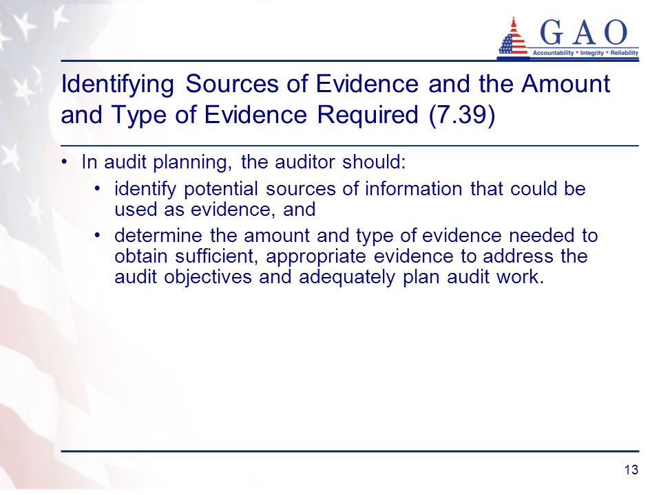 Identifying Sources of Evidence and the Amount and Type of Evidence Required (7.39)