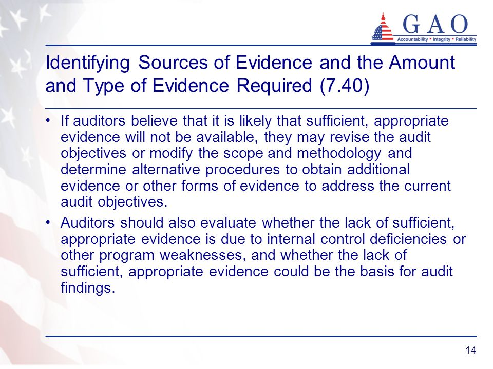 Identifying Sources of Evidence and the Amount and Type of Evidence Required (7.40)