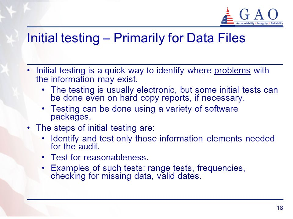 Initial testing – Primarily for Data Files