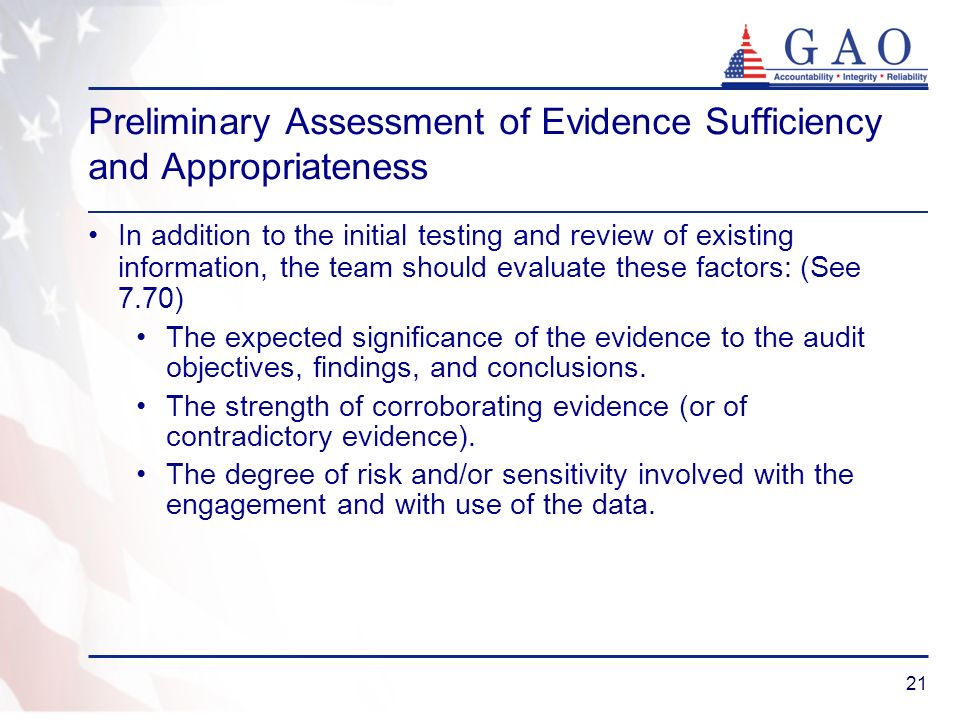 Preliminary Assessment of Evidence Sufficiency and Appropriateness