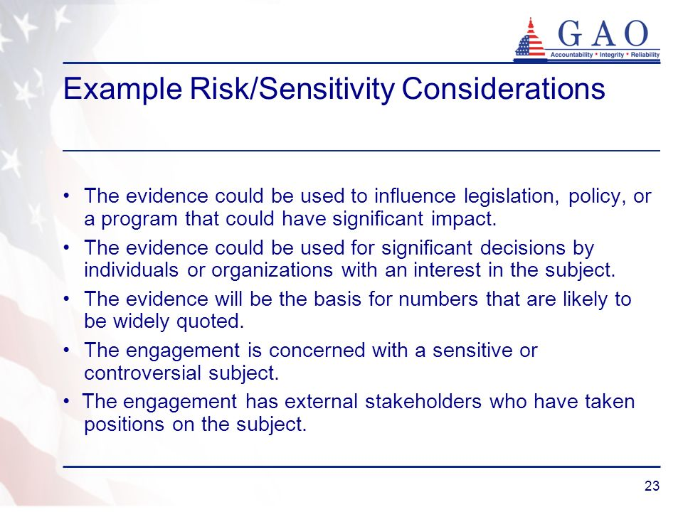 Example Risk/Sensitivity Considerations