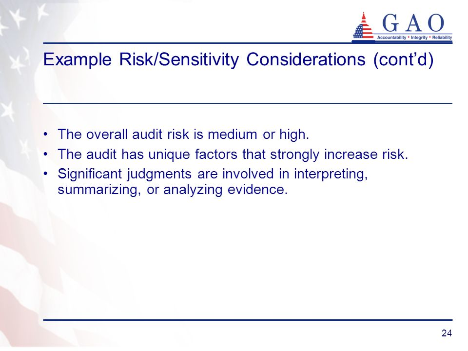 Example Risk/Sensitivity Considerations (cont'd)