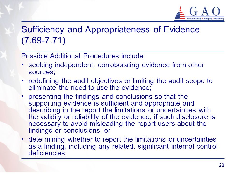 Sufficiency and Appropriateness of Evidence ( )