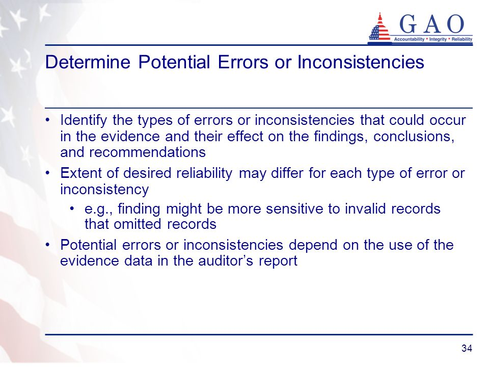 Determine Potential Errors or Inconsistencies