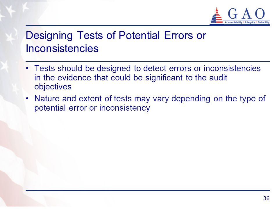 Designing Tests of Potential Errors or Inconsistencies
