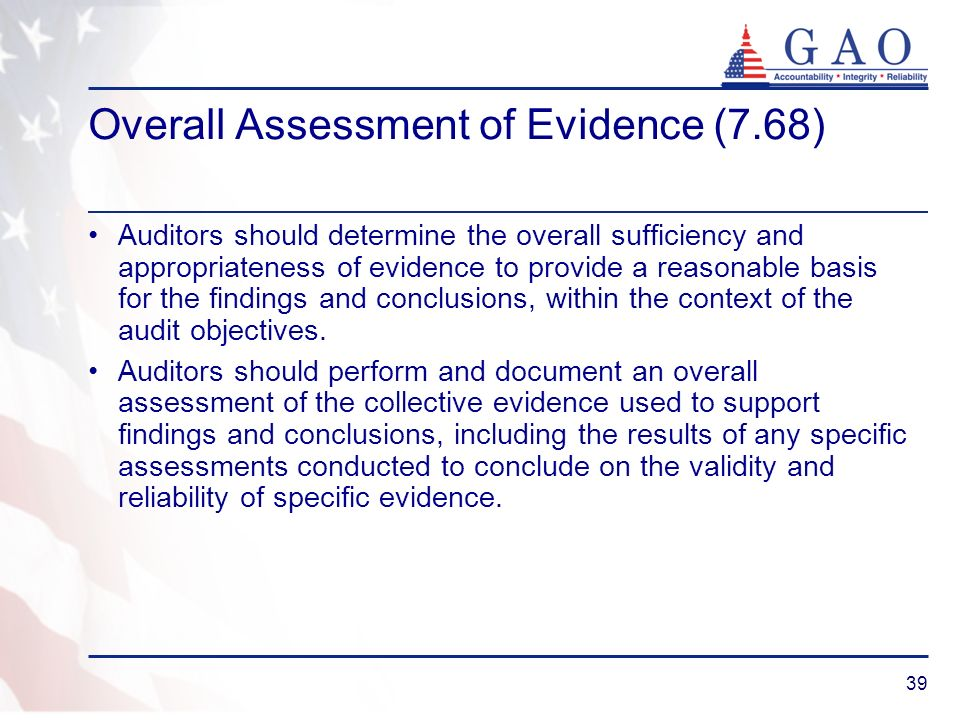 Overall Assessment of Evidence (7.68)