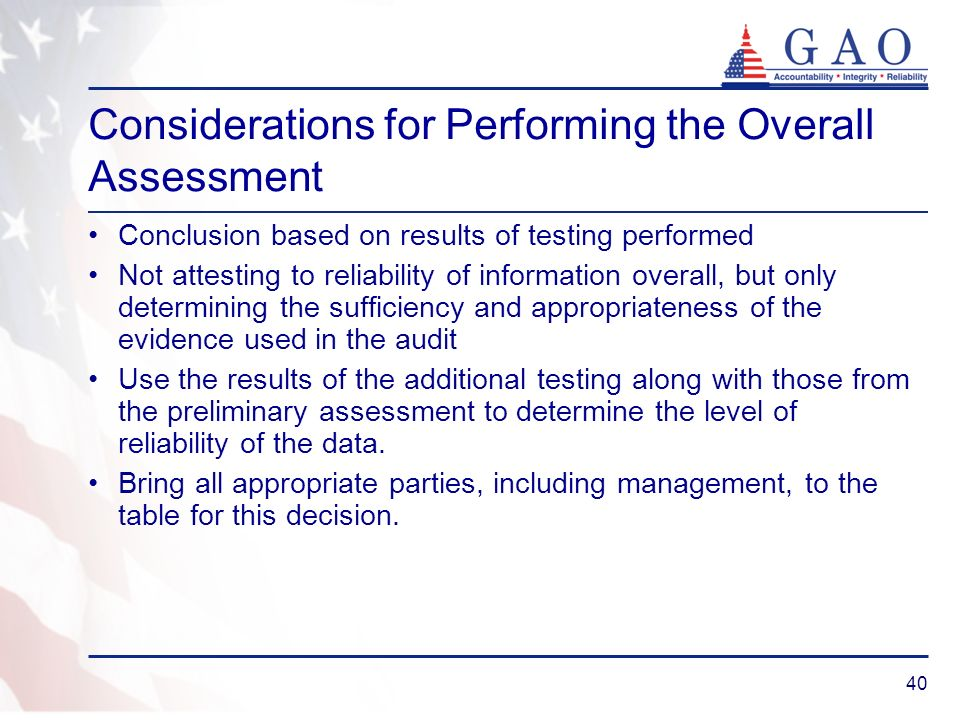 Considerations for Performing the Overall Assessment