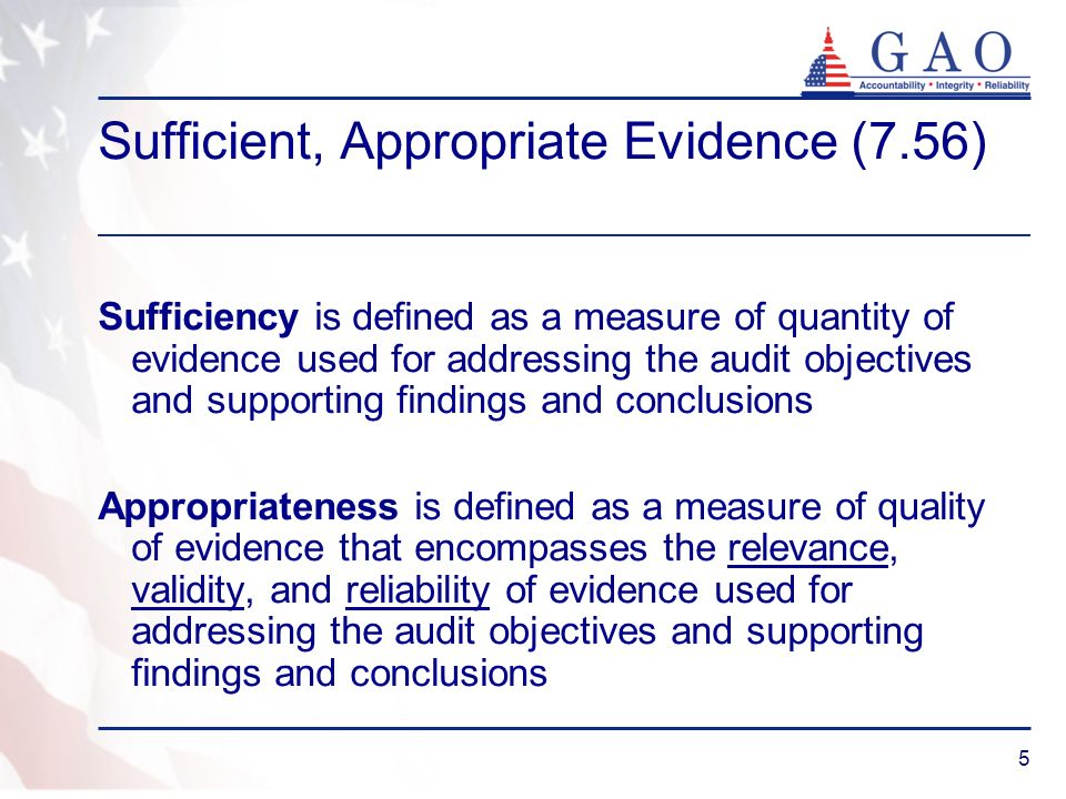 Sufficient, Appropriate Evidence (7.56)
