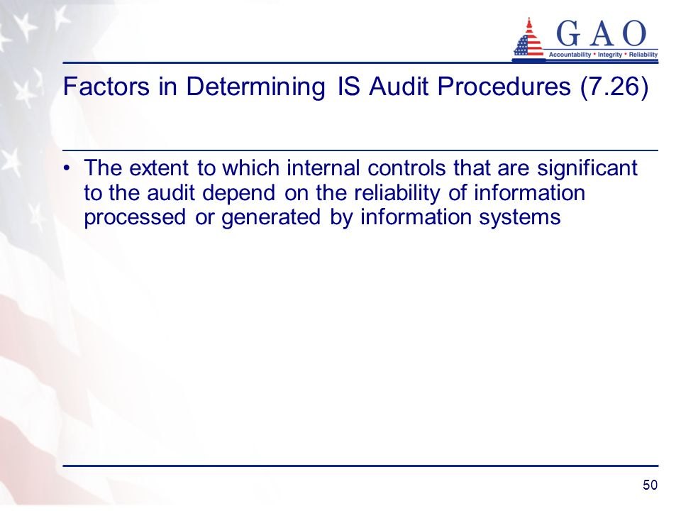 Factors in Determining IS Audit Procedures (7.26)