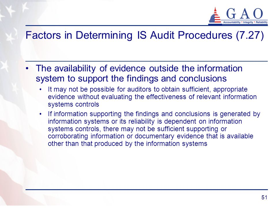 Factors in Determining IS Audit Procedures (7.27)