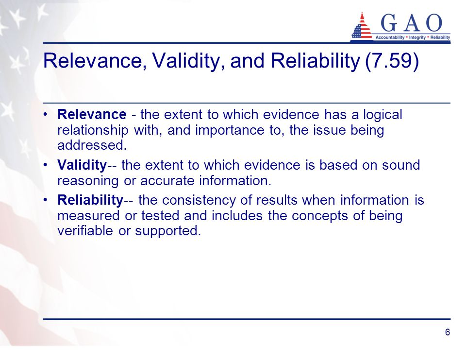 Relevance, Validity, and Reliability (7.59)