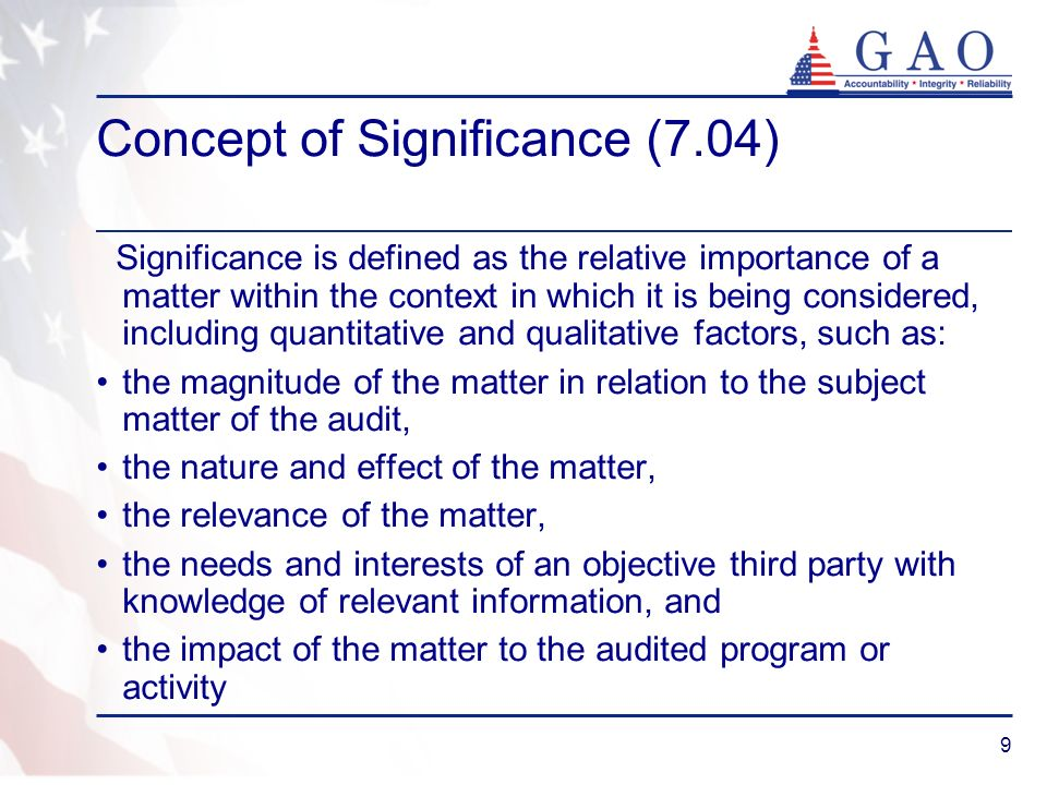 Concept of Significance (7.04)
