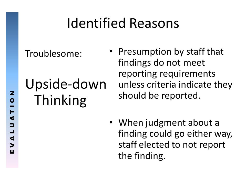 Identified Reasons Upside-down Thinking