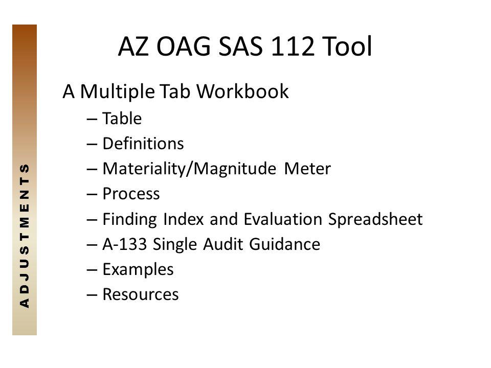 AZ OAG SAS 112 Tool A Multiple Tab Workbook Table Definitions