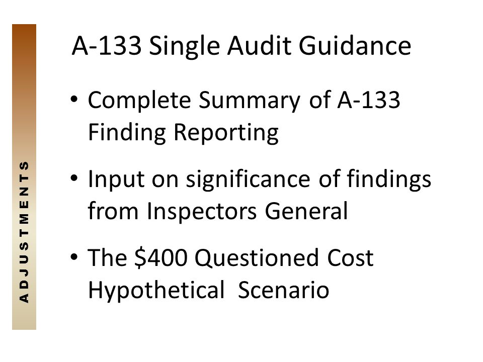 A-133 Single Audit Guidance