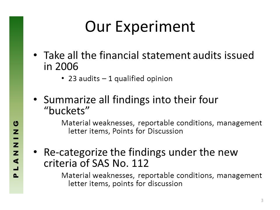 Our Experiment Take all the financial statement audits issued in 2006