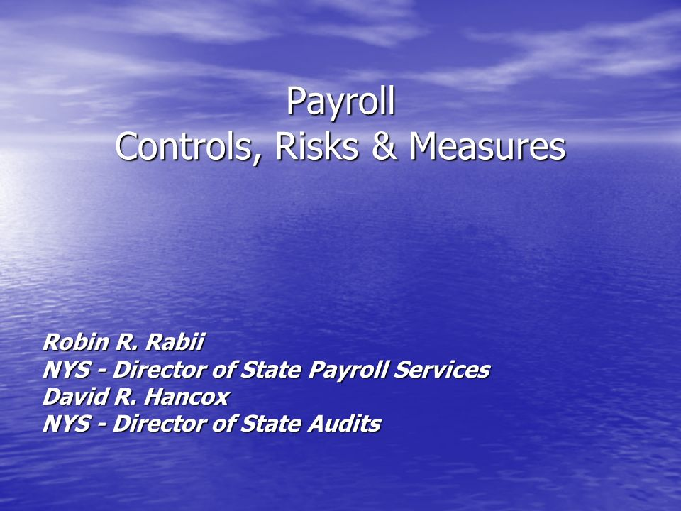 Payroll Controls, Risks & Measures