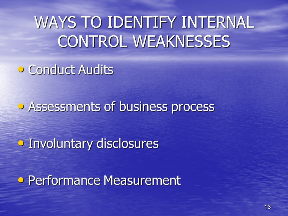 WAYS TO IDENTIFY INTERNAL CONTROL WEAKNESSES
