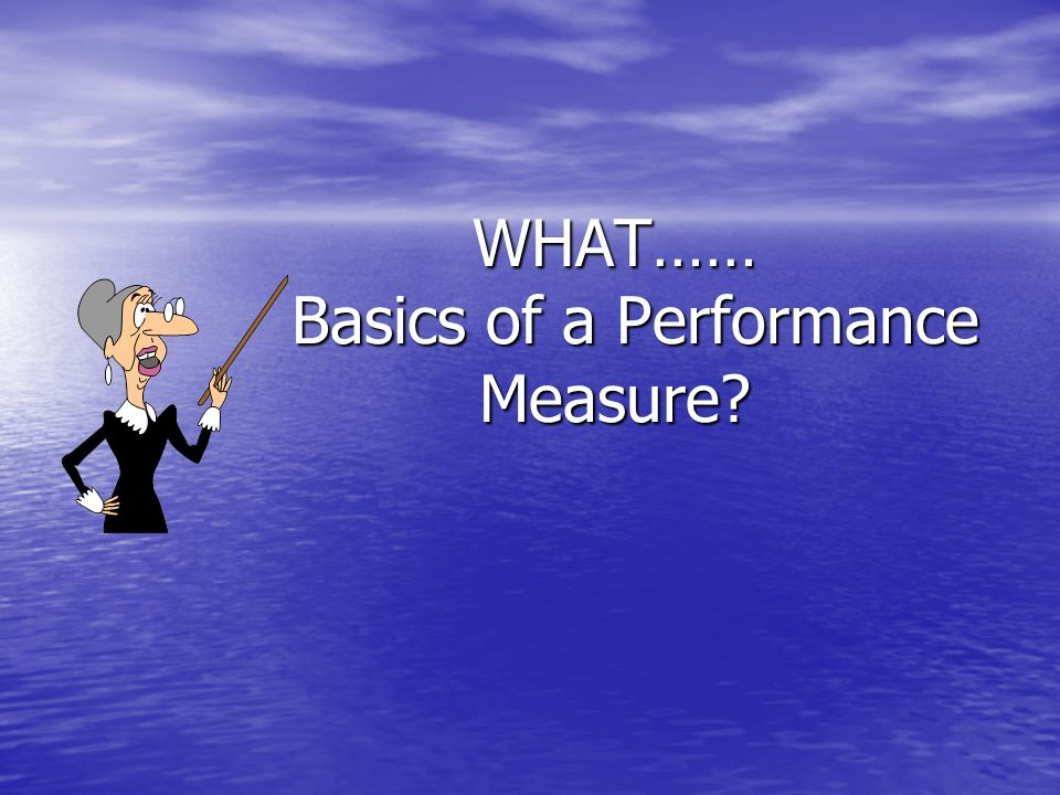 WHAT…… Basics of a Performance Measure