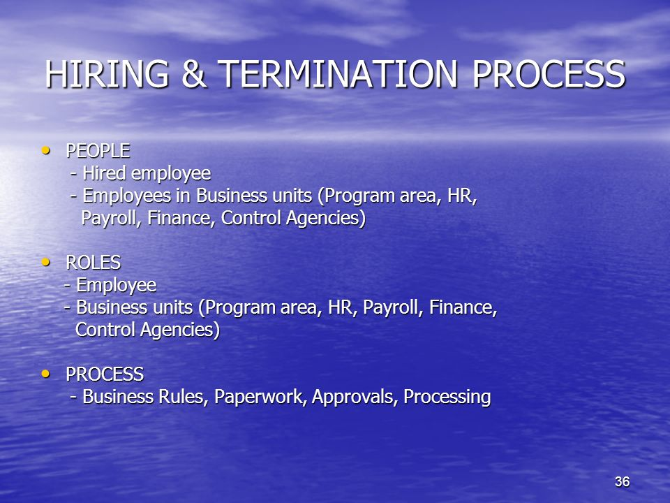 HIRING & TERMINATION PROCESS
