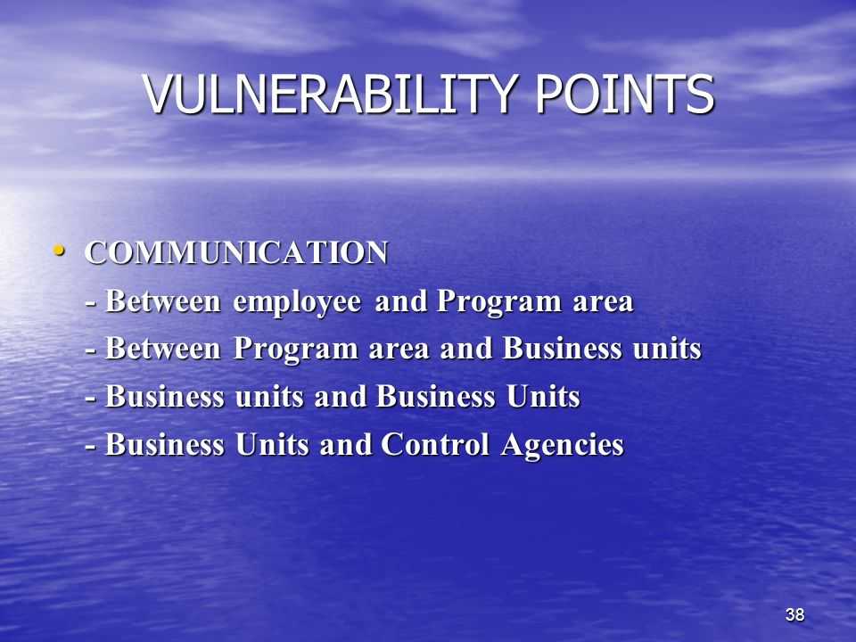 VULNERABILITY POINTS COMMUNICATION - Between employee and Program area