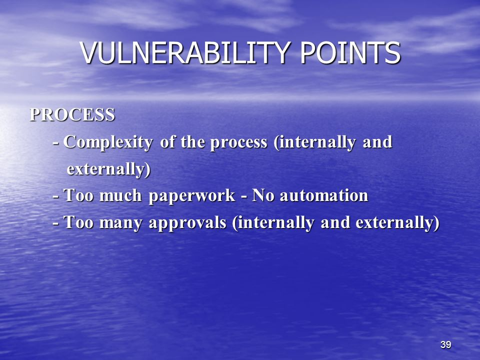 VULNERABILITY POINTS PROCESS