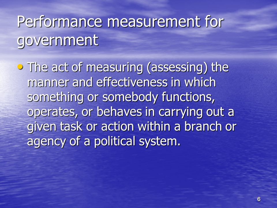 Performance measurement for government