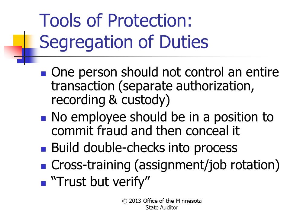 Tools of Protection: Segregation of Duties