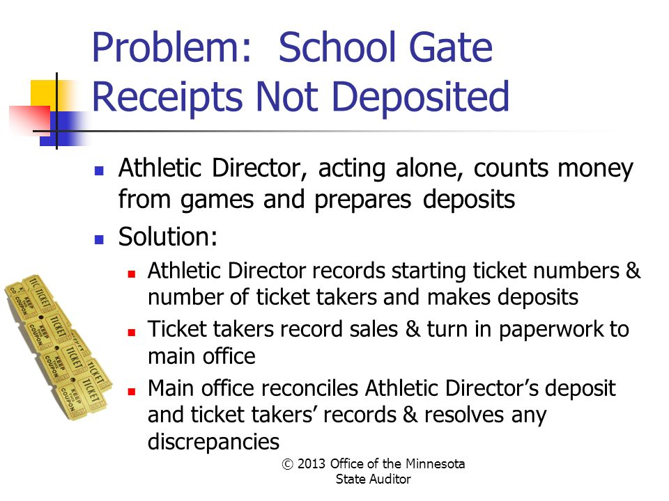 Problem: School Gate Receipts Not Deposited
