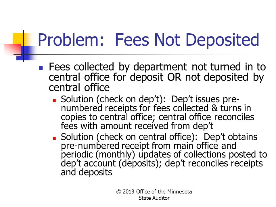 Problem: Fees Not Deposited