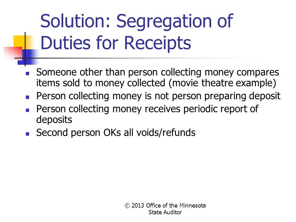 Solution: Segregation of Duties for Receipts