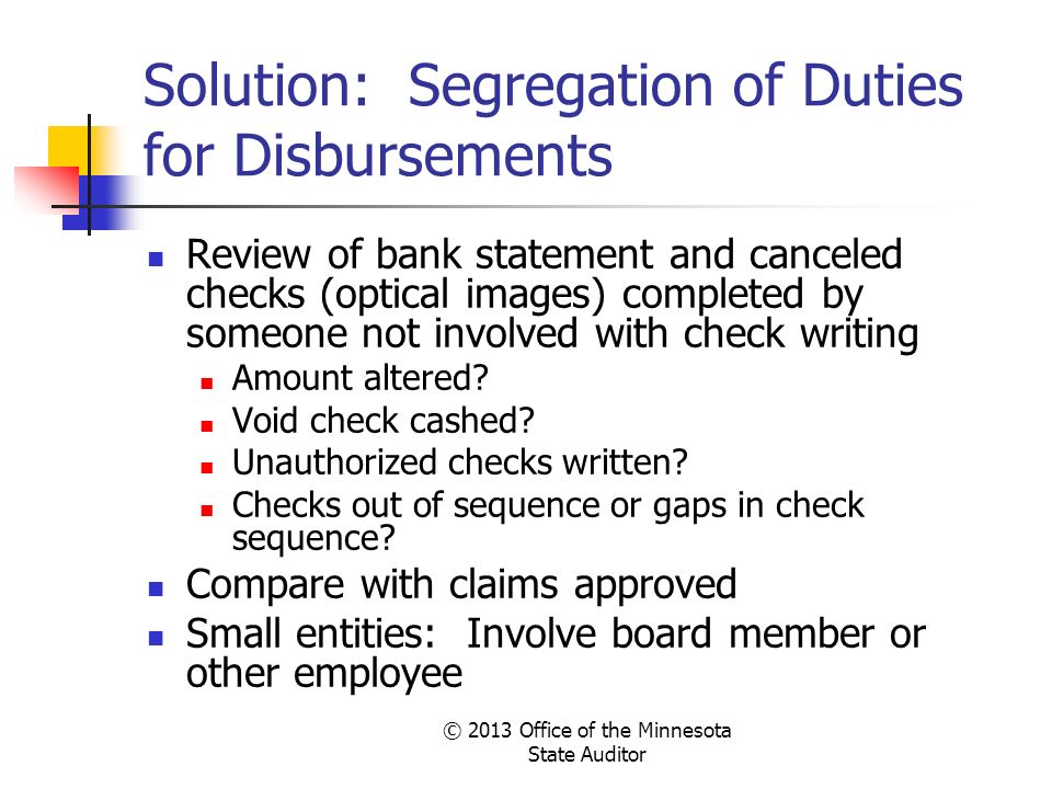 Solution: Segregation of Duties for Disbursements