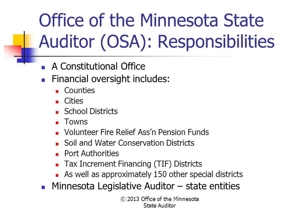 Office of the Minnesota State Auditor (OSA): Responsibilities