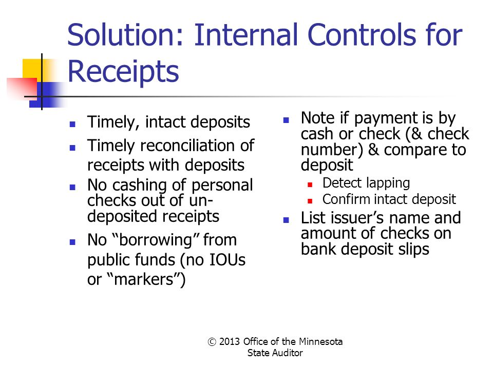 Solution: Internal Controls for Receipts