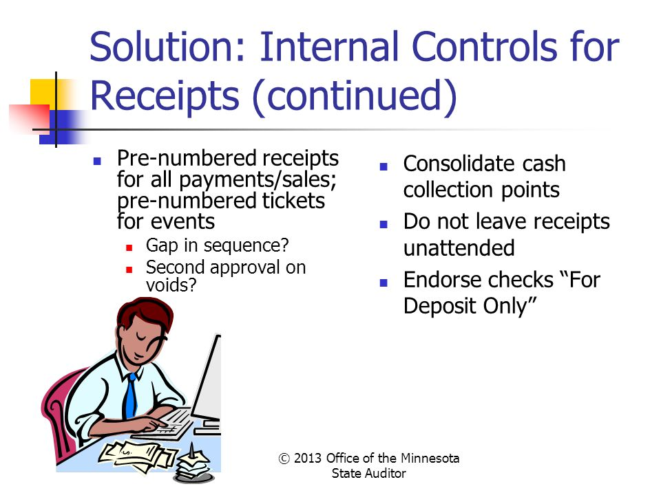 Solution: Internal Controls for Receipts (continued)