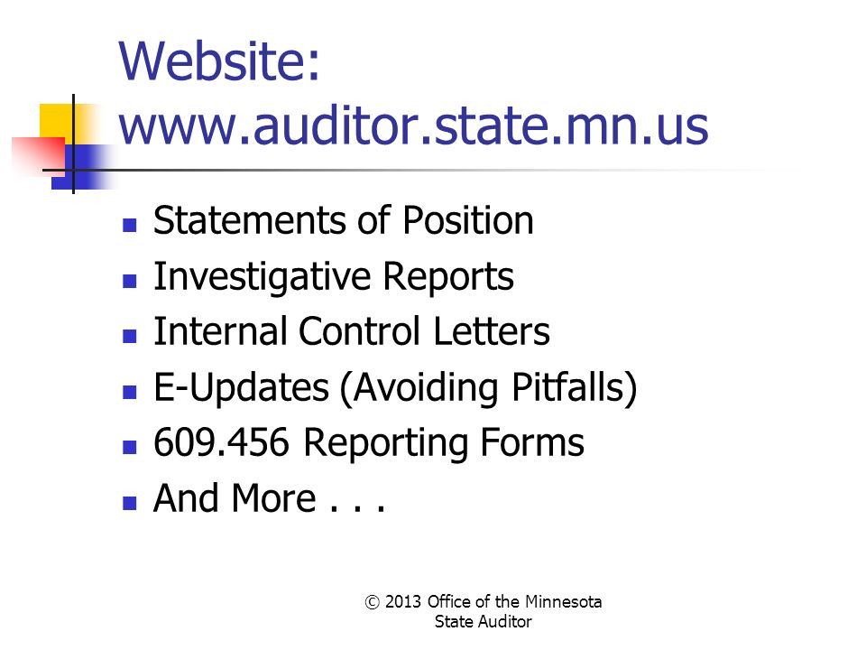 Website: www.auditor.state.mn.us