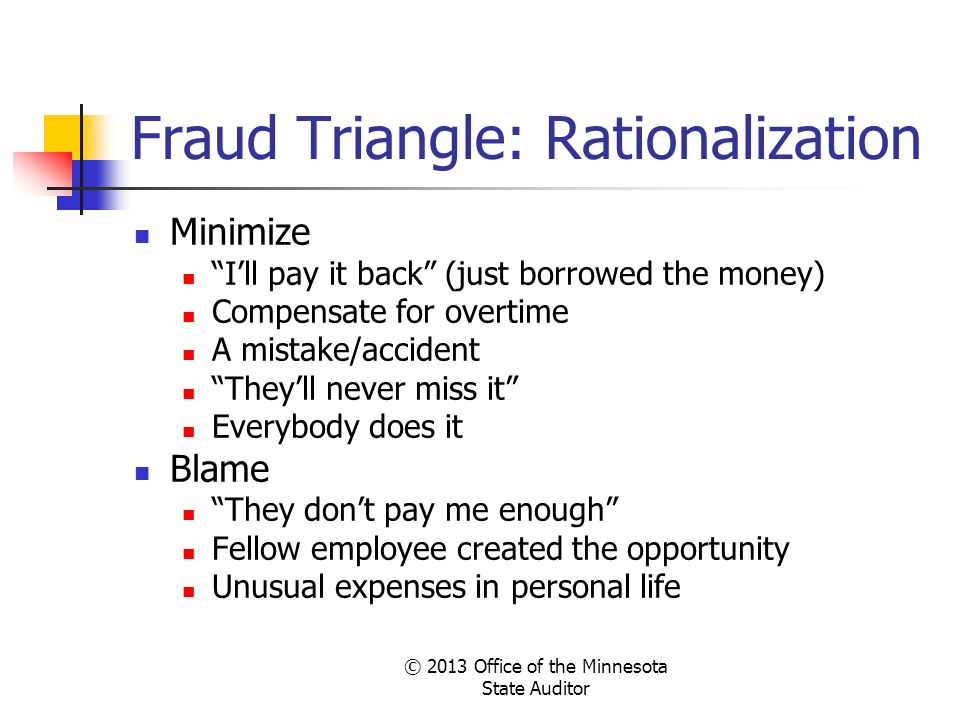 Fraud Triangle: Rationalization