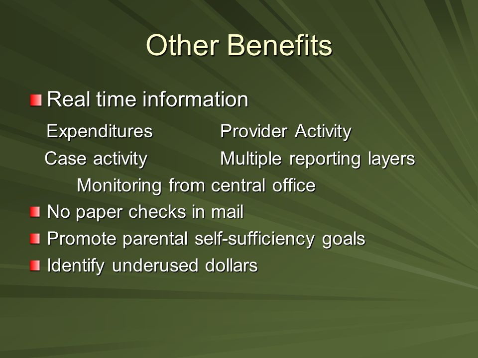 Other Benefits Real time information Expenditures Provider Activity