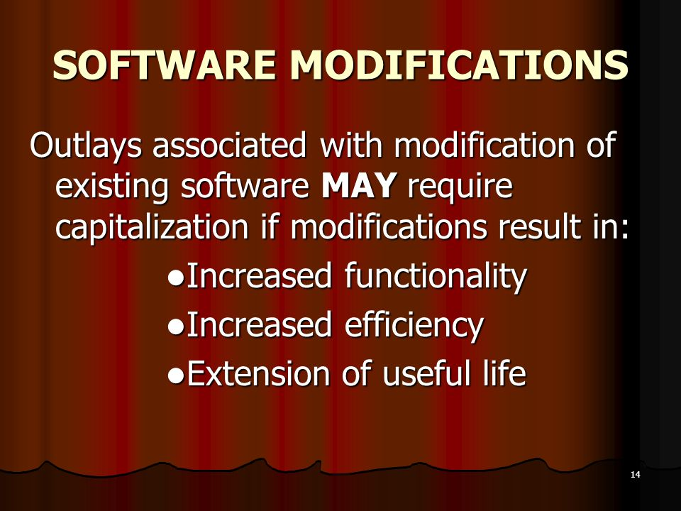 SOFTWARE MODIFICATIONS