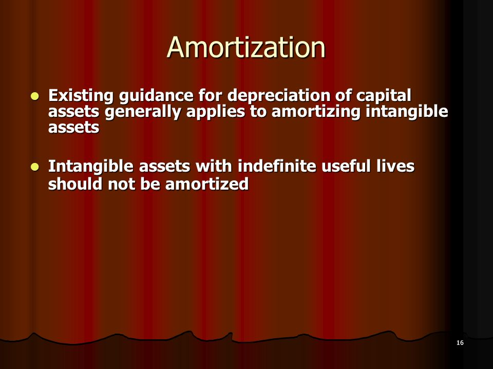 AmortizationExisting guidance for depreciation of capital assets generally applies to amortizing intangible assets.
