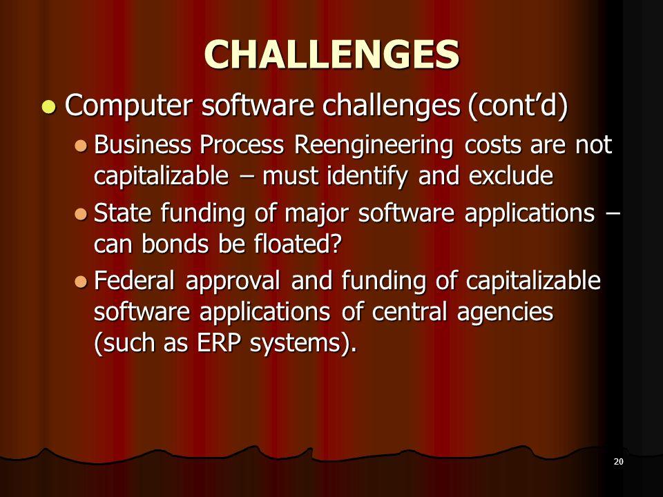 CHALLENGES Computer software challenges (cont'd)