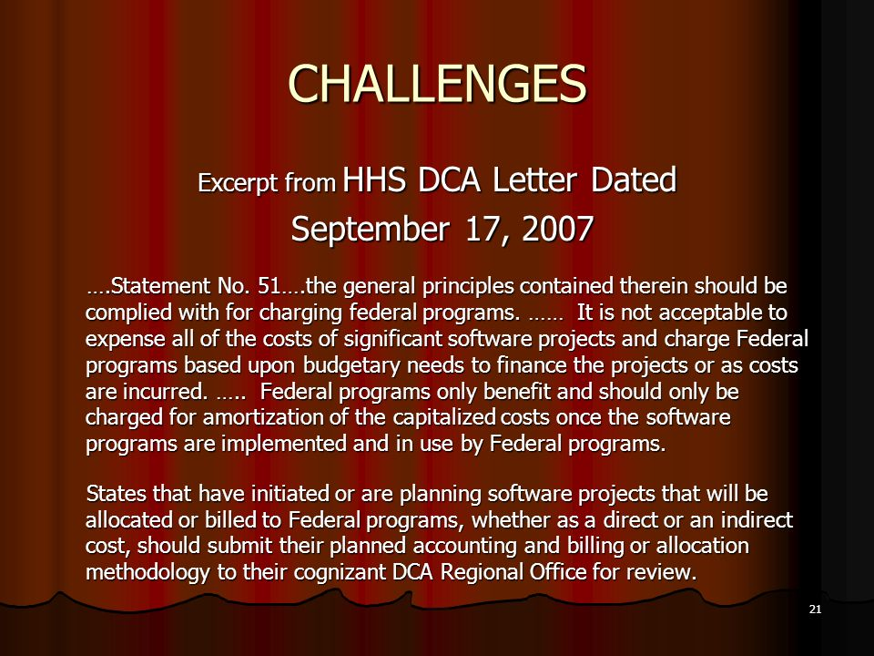 Excerpt from HHS DCA Letter Dated