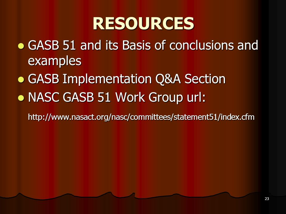 RESOURCES GASB 51 and its Basis of conclusions and examples